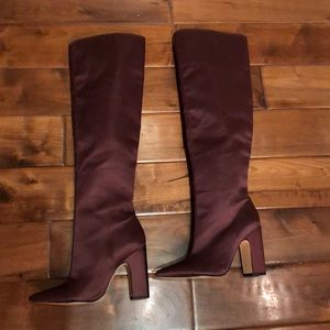 Zara woman made in Spain satin burgundy otk boots